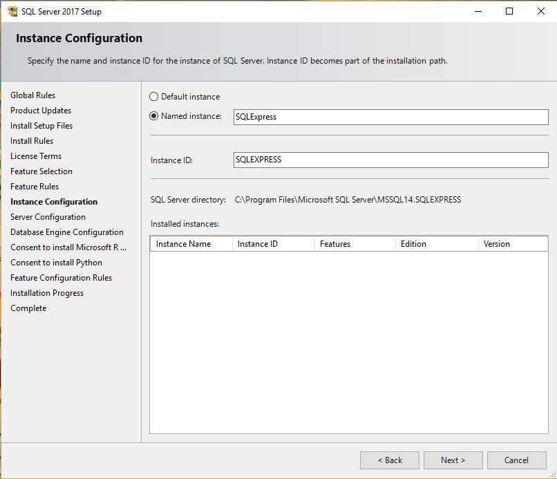 Instance Configuration Screen